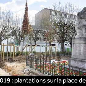 Plantations sur la place du Général de Gaulle en mars 2019