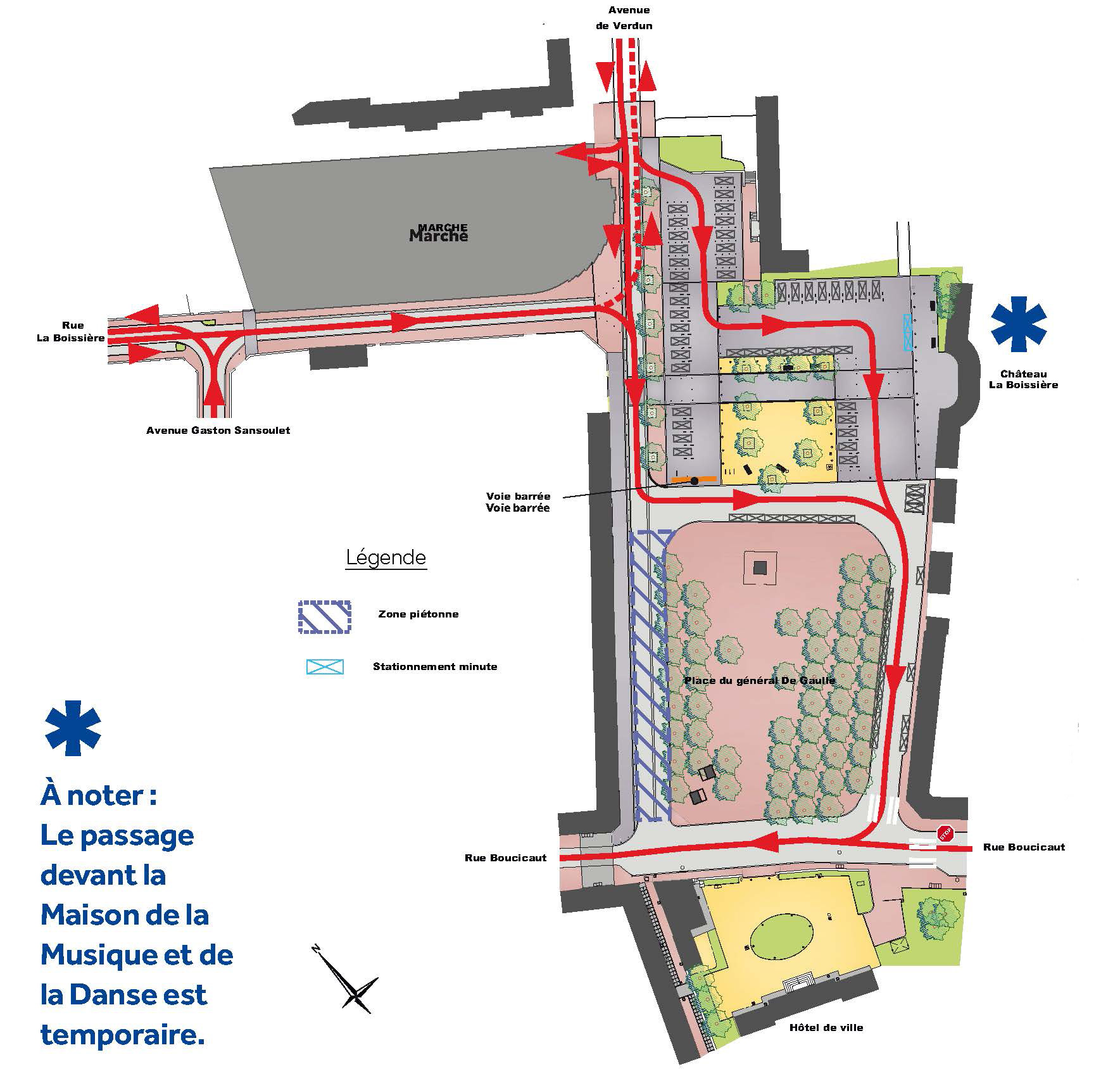 Plan de circulation de la place de Gaulle à partir du 6 avril 2018