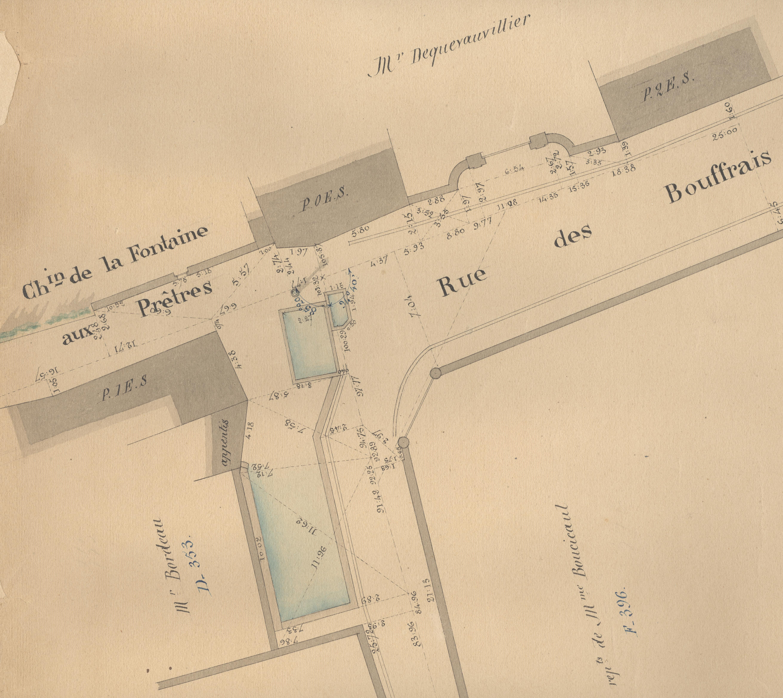 La situation du lavoir alors sitrué à l'entrée de l'actuelle rue Robert Marchand. AMFaR