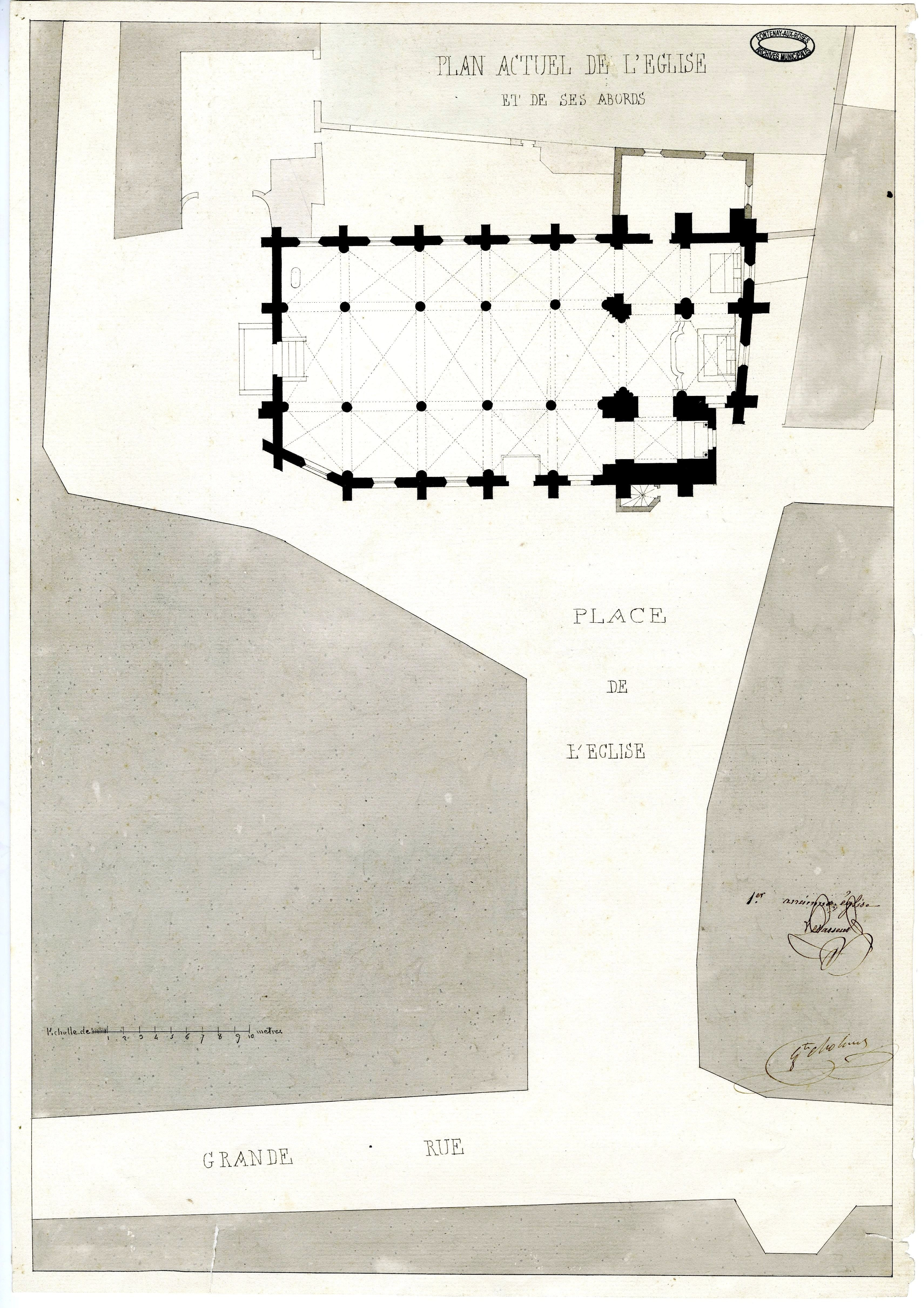 Plan de l'église Saint-Pierre Saint-Paul vers 1830. So effondrement partiiel en 1832 provoquera sa reconstruction. AMFaR série P