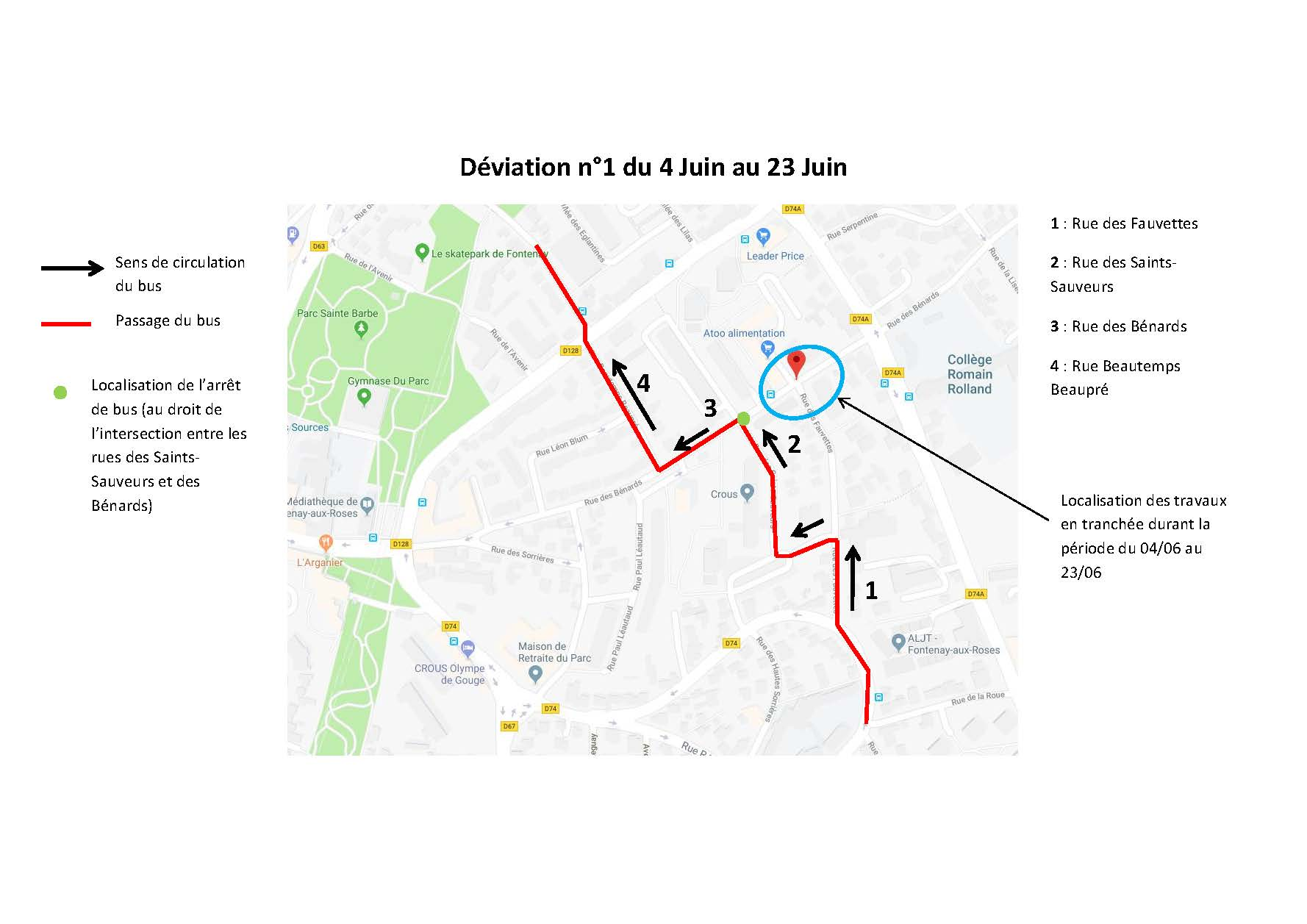 Déviation du Petit Fontenaisien du 4 au 23 juin 2018