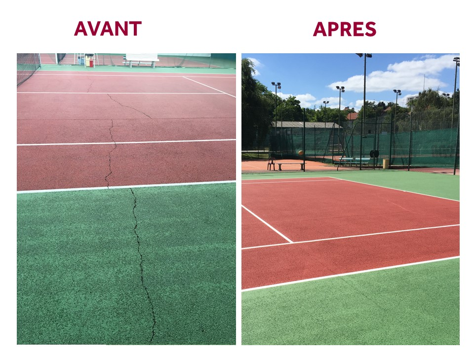 Rénovation d'un court de tennis avant et après