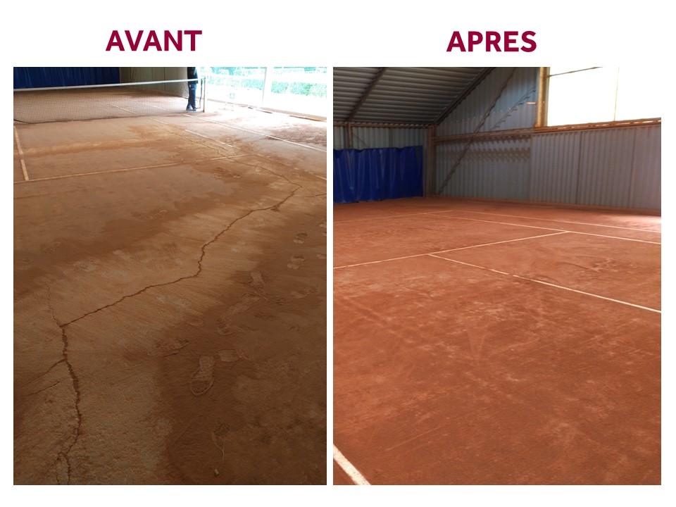 Rénovation des tennis couverts avant-après
